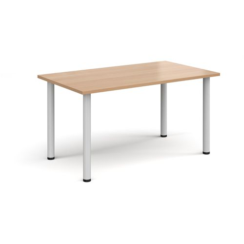 Rectangular white radial leg meeting table 1400mm x 800mm - beech