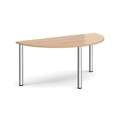 Semi circular chrome radial leg meeting table 1600mm x 800mm - beech