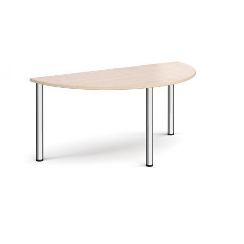 Image for Semi circular chrome radial leg meeting table 1600mm x 800mm - maple