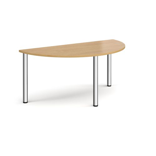Semi circular chrome radial leg meeting table 1600mm x 800mm - oak