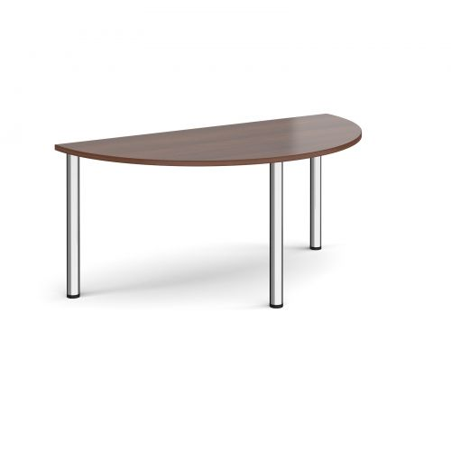 Image for Semi circular chrome radial leg meeting table 1600mm x 800mm - walnut