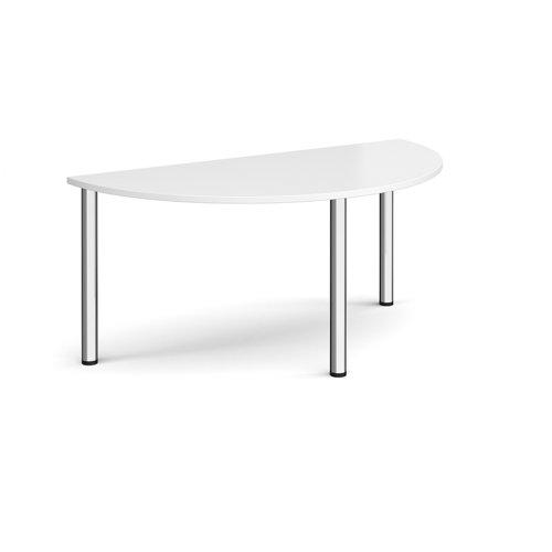 Image for Semi circular chrome radial leg meeting table 1600mm x 800mm - white