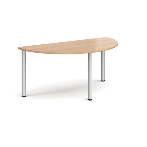 Semi circular silver radial leg meeting table 1600mm x 800mm - beech