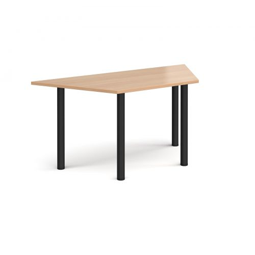 Image for Trapezoidal black radial leg meeting table 1600mm x 800mm - beech