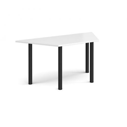 Image for Trapezoidal black radial leg meeting table 1600mm x 800mm - white