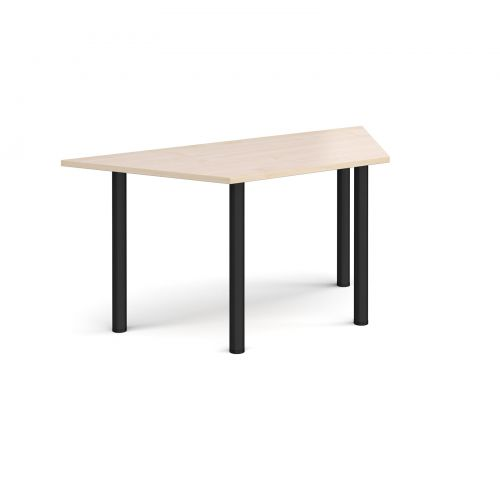 Image for Trapezoidal black radial leg meeting table 1600mm x 800mm - maple