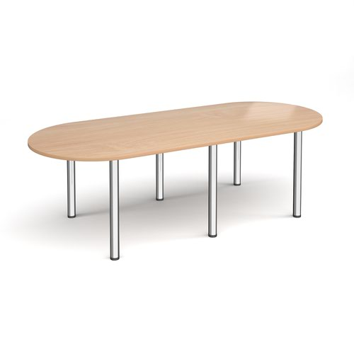Image for Radial end meeting table 2400mm x 1000mm with 6 chrome radial legs - beech