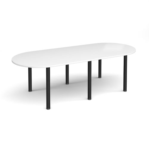 Image for Radial end meeting table 2400mm x 1000mm with 6 black radial legs - white