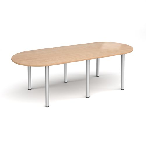 Radial end meeting table 2400mm x 1000mm with 6 silver radial legs - beech