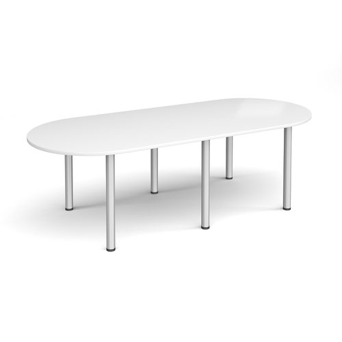 Radial end meeting table 2400mm x 1000mm with 6 silver radial legs - white