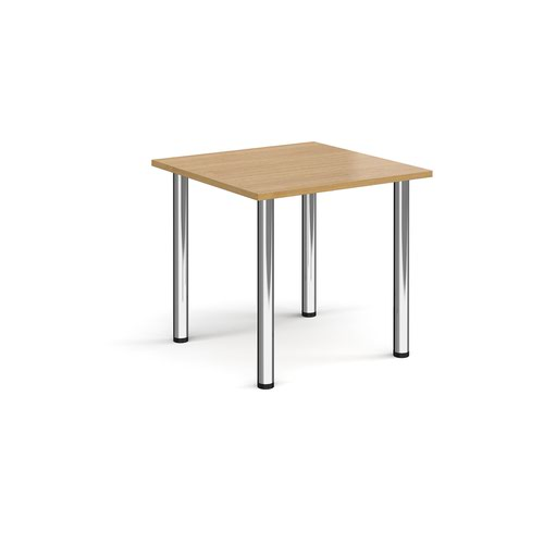 Rectangular chrome radial leg meeting table 800mm x 800mm - oak