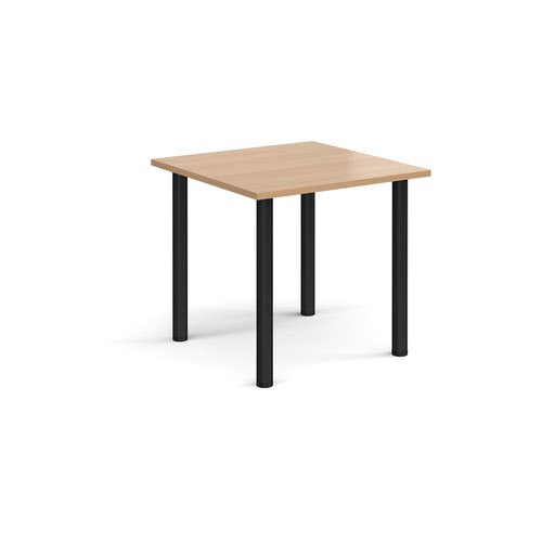Rectangular black radial leg meeting table 800mm x 800mm - beech