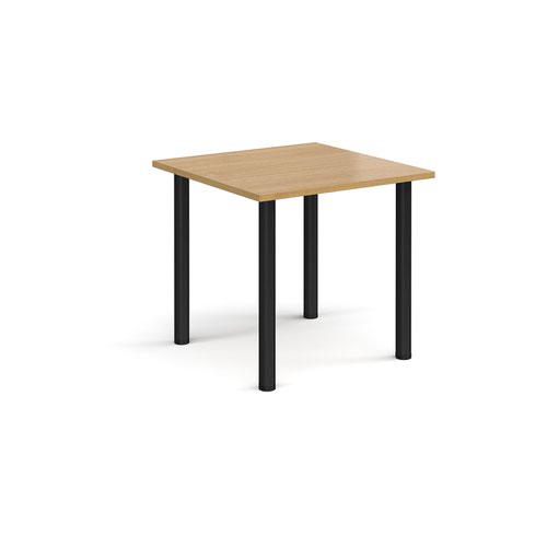 Rectangular black radial leg meeting table 800mm x 800mm - oak