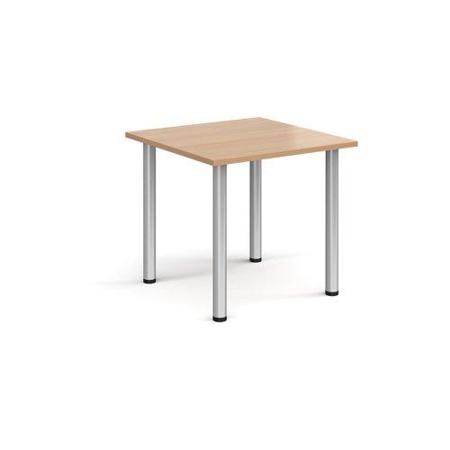 Rectangular silver radial leg meeting table 800mm x 800mm - beech