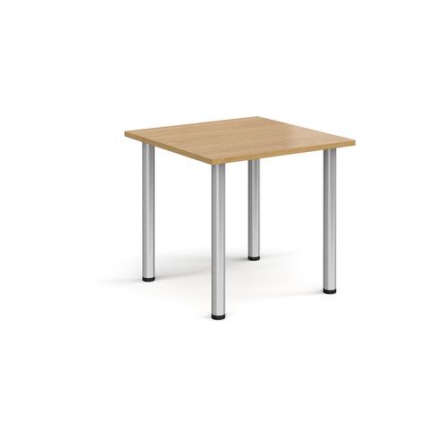 Rectangular silver radial leg meeting table 800mm x 800mm - oak