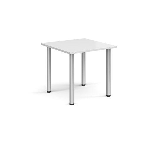Rectangular silver radial leg meeting table 800mm x 800mm - white