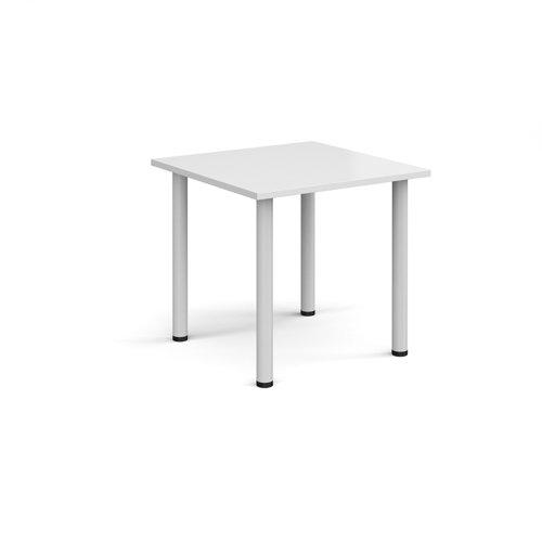 Rectangular white radial leg meeting table 800mm x 800mm - white