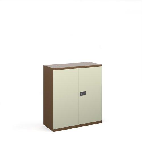 Steel contract cupboard with 1 shelf 1000mm high - coffee/cream
