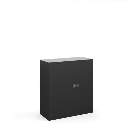 Steel contract cupboard with 1 shelf 1000mm high - black