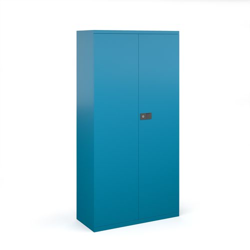 Steel contract cupboard with 3 shelves 1806mm high - blue