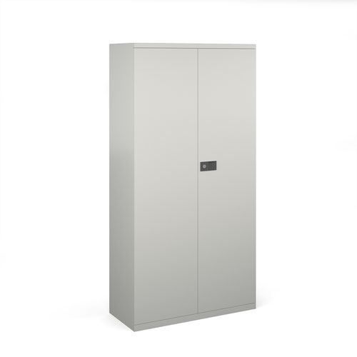 Steel contract cupboard with 3 shelves 1806mm high - goose grey