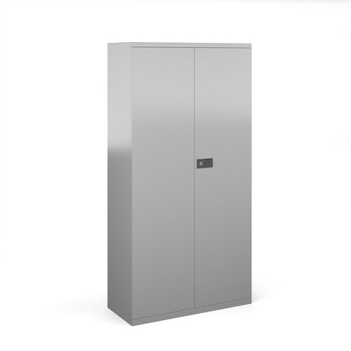 Steel contract cupboard with 3 shelves 1806mm high - silver