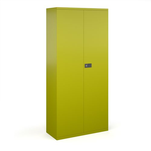 Steel contract cupboard with 4 shelves 1968mm high - green