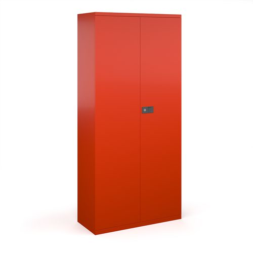 Steel contract cupboard with 4 shelves 1968mm high - red