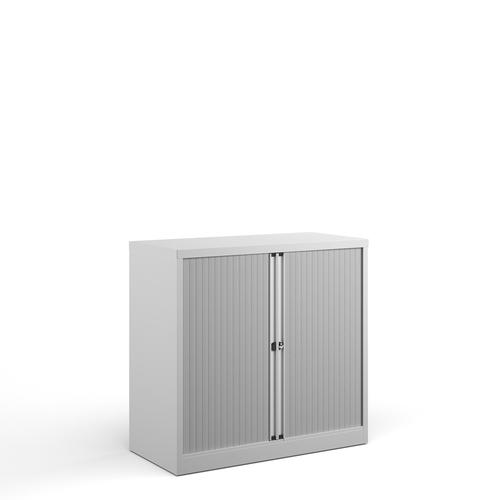 Bisley systems storage low tambour cupboard 1000mm high - white