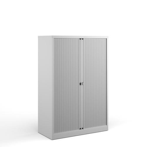 Bisley systems storage medium tambour cupboard 1570mm high - white