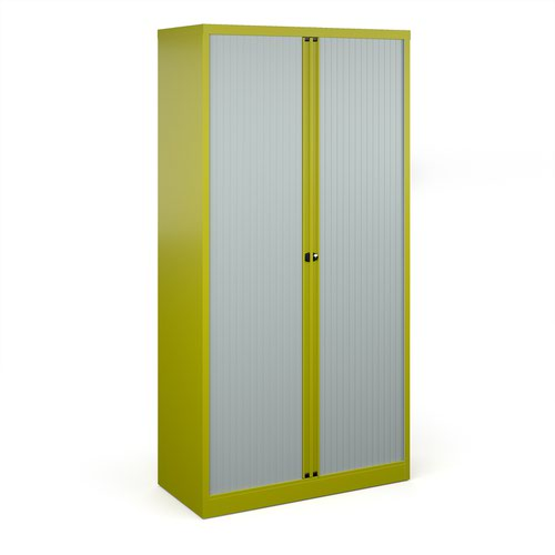 Bisley systems storage high tambour cupboard 1970mm high - green