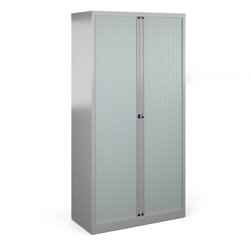 Bisley systems storage high tambour cupboard 1970mm high - silver