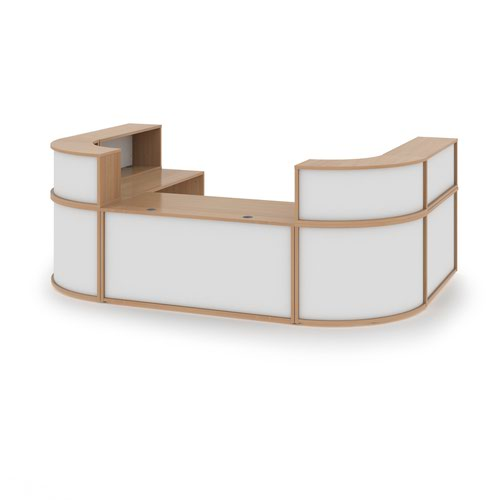 Denver extra large U-shaped complete reception unit - beech with white panels