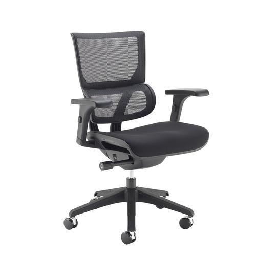 Dynamo mesh back posture chair with black frame and black airmex seat