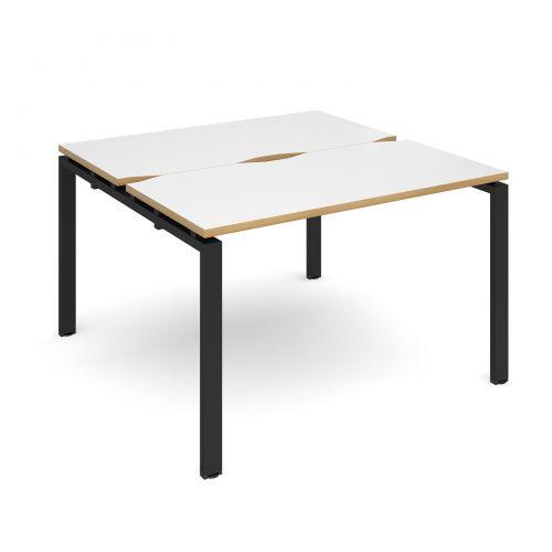 Adapt II starter units back to back 1200mm x 1200mm - black frame, white top with oak edging