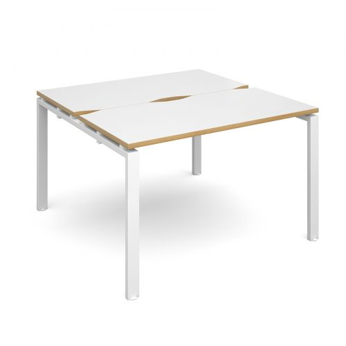 Adapt II starter units back to back 1200mm x 1200mm - white frame, white top with oak edging