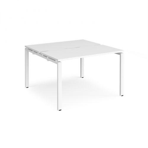 Adapt II back to back desks 1200mm x 1200mm - white frame, white top