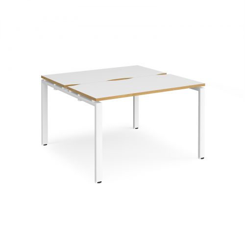 Adapt II back to back desks 1200mm x 1200mm - white frame, white top with oak edging
