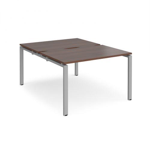 Adapt II back to back desks 1200mm x 1600mm - silver frame, walnut top