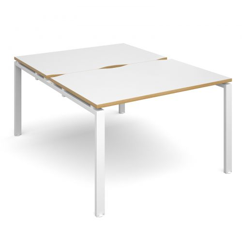 Adapt II starter units back to back 1200mm x 1600mm - white frame, white top with oak edging