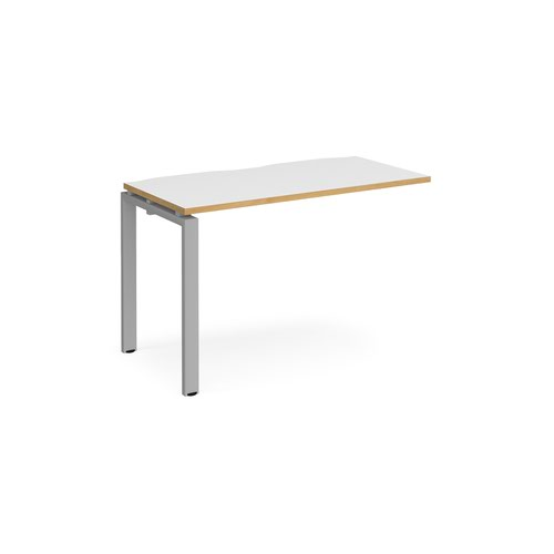 Adapt II Bench System Add On Desk 1200x600x725mm Silver/White & Oak E126-AB-S-WO