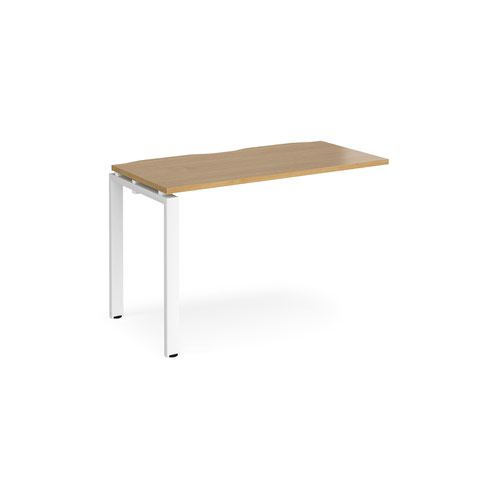 Adapt add on unit single 1200mm x 600mm - white frame and oak top