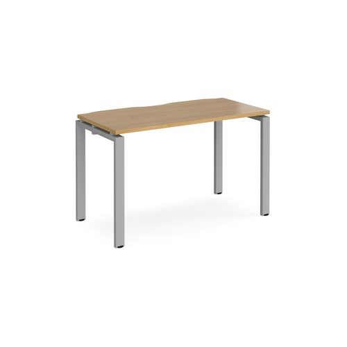 Adapt starter unit single 1200mm x 600mm - silver frame and oak top