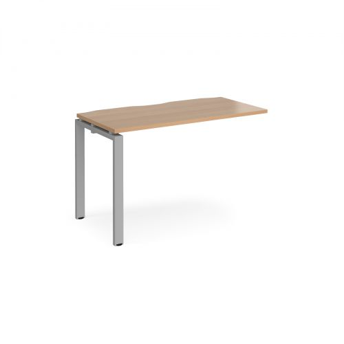 Adapt II add on unit single 1200mm x 600mm - silver frame, beech top