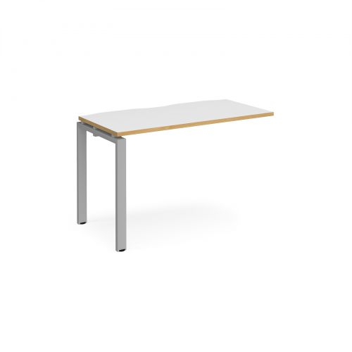 Adapt II add on unit single 1200mm x 600mm - silver frame, white top with oak edging
