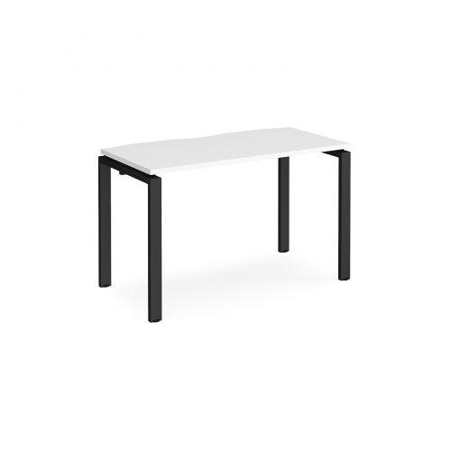 Adapt II single desk 1200mm x 600mm - black frame, white top
