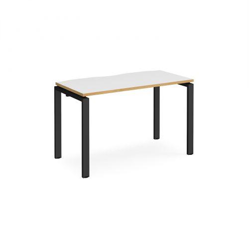 Adapt II single desk 1200mm x 600mm - black frame, white top with oak edging