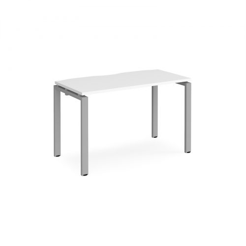 Adapt II single desk 1200mm x 600mm - silver frame and white top