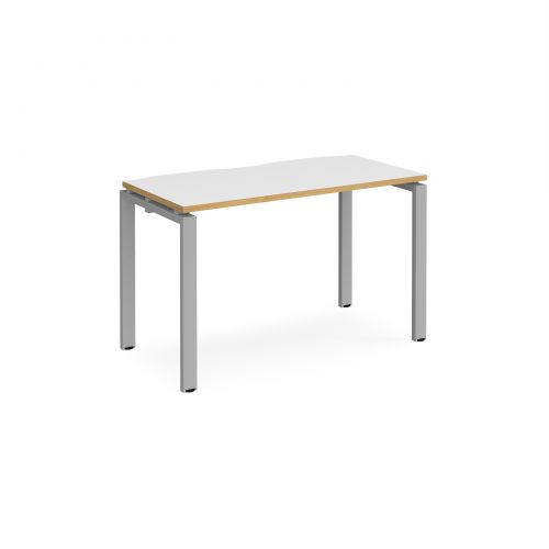 Adapt II single desk 1200mm x 600mm - silver frame, white top with oak edging