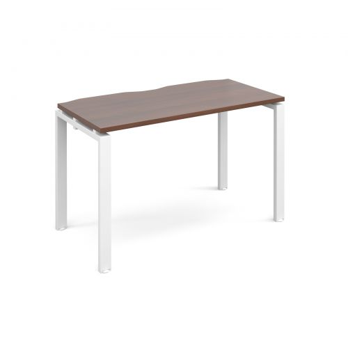 Adapt II starter unit single 1200mm x 600mm - white frame, walnut top
